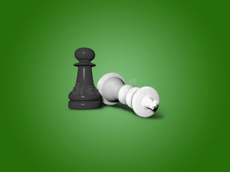 Figura caida del ajedrez del rey stock de ilustración