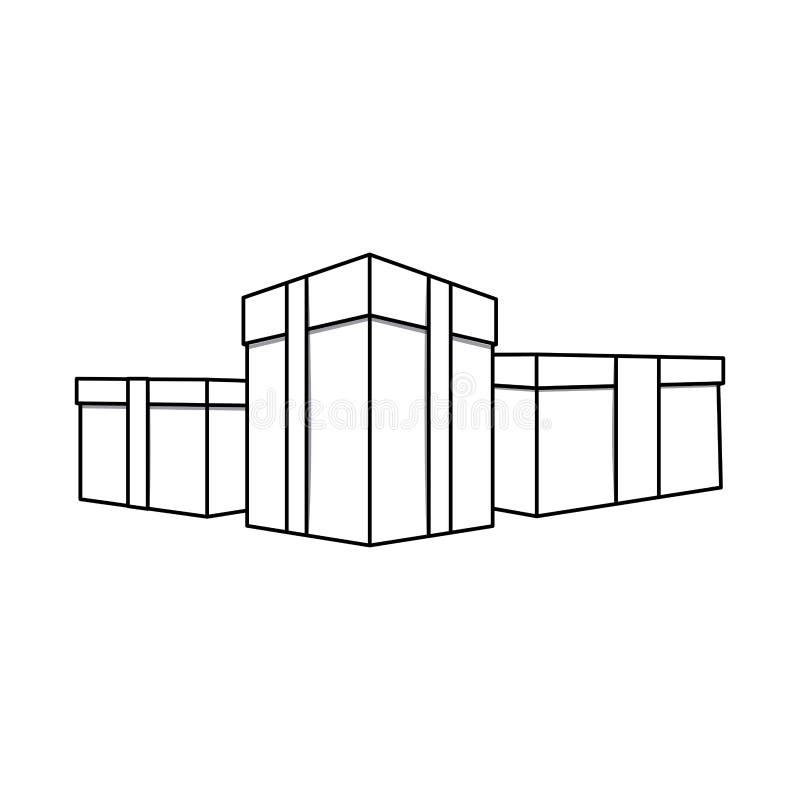 figura caixas com ícone da fita ilustração do vetor