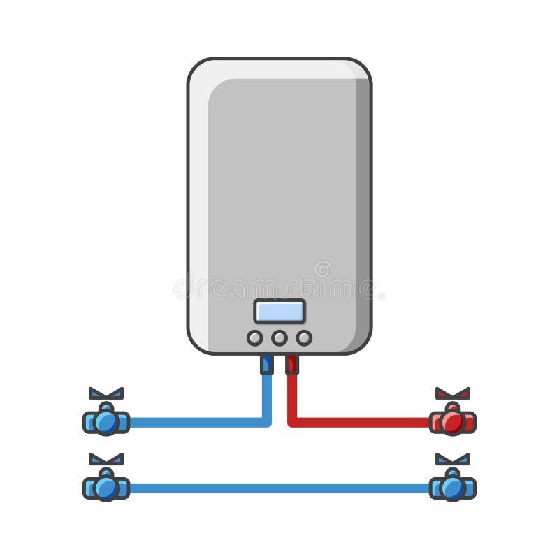 Figura caldera para el agua de calefacción en el sistema de abastecimiento del agua Ilustración del vector en el fondo blanco Ais ilustración del vector