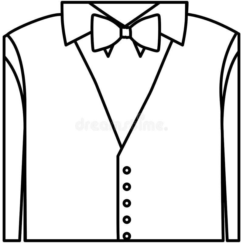 figura camicia dell'autoadesivo con il farfallino ed il panciotto illustrazione di stock