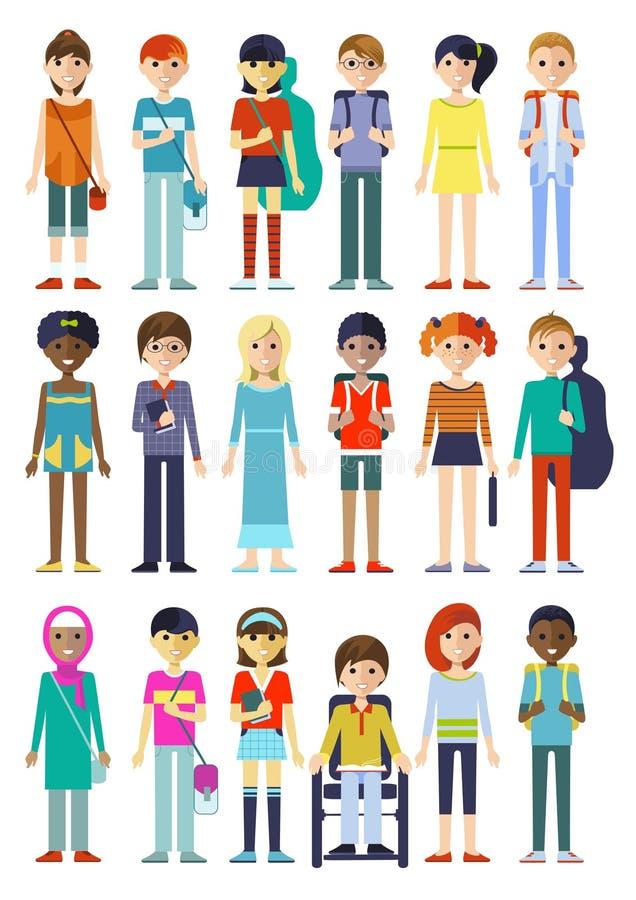 Figura caracteres de los niños fijados ilustración del vector