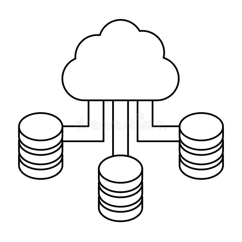 figura centro de dados azul do acolhimento da nuvem ilustração royalty free