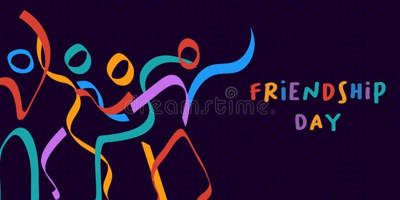 Figura colorida amigos da vara do cartão do dia da amizade ilustração royalty free