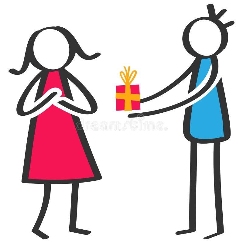 Figura colorida simple hombre del palillo que da el presente de cumpleaños, caja de regalo a la novia ilustración del vector