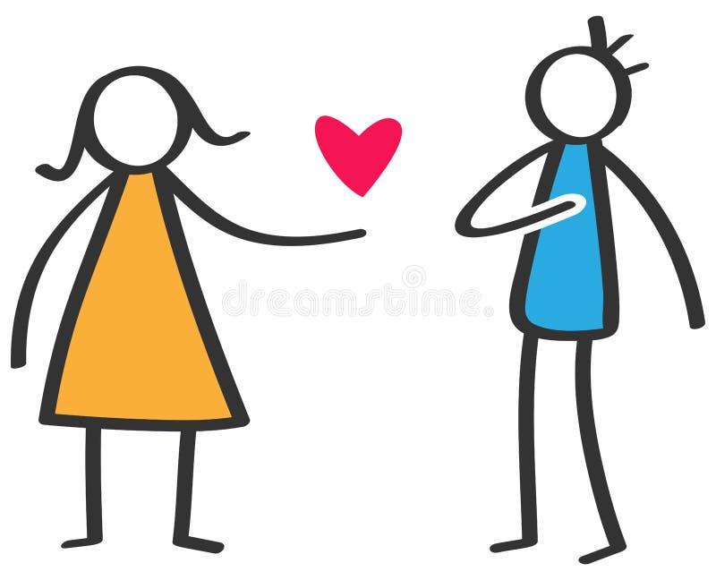 Figura colorida simples mulher da vara que dá a amor o coração vermelho ao homem isolado no fundo branco, declaração do amor ilustração royalty free