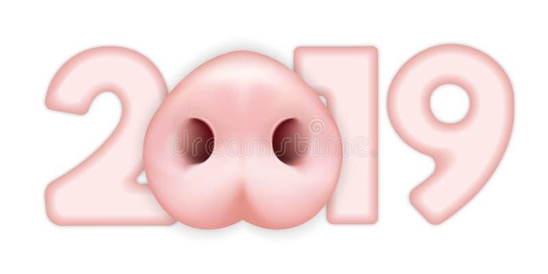 Figura 2019 com cara do porco ilustração stock