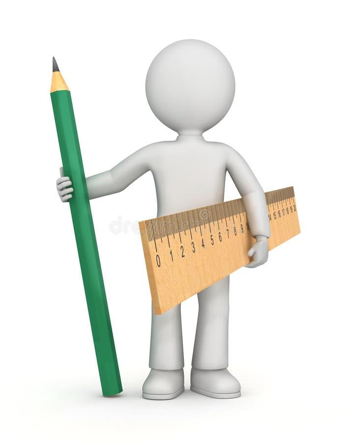 Figura com régua e lápis ilustração do vetor