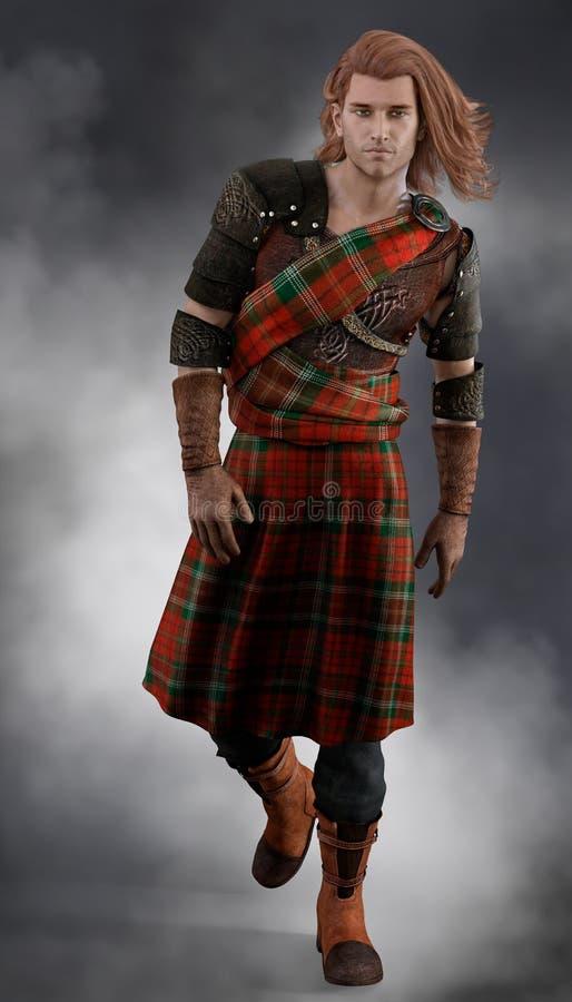 Figura completa armadura y tarta que llevan del guerrero escocés romántico del cgi stock de ilustración