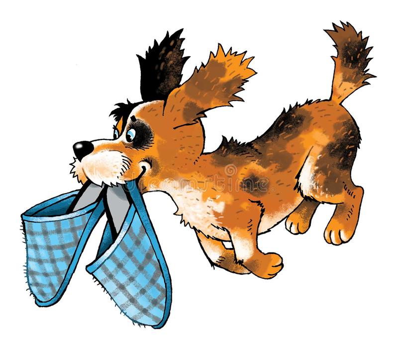Figura corriente de la historieta de las zapatillas de deporte del amigo divertido del perrito stock de ilustración