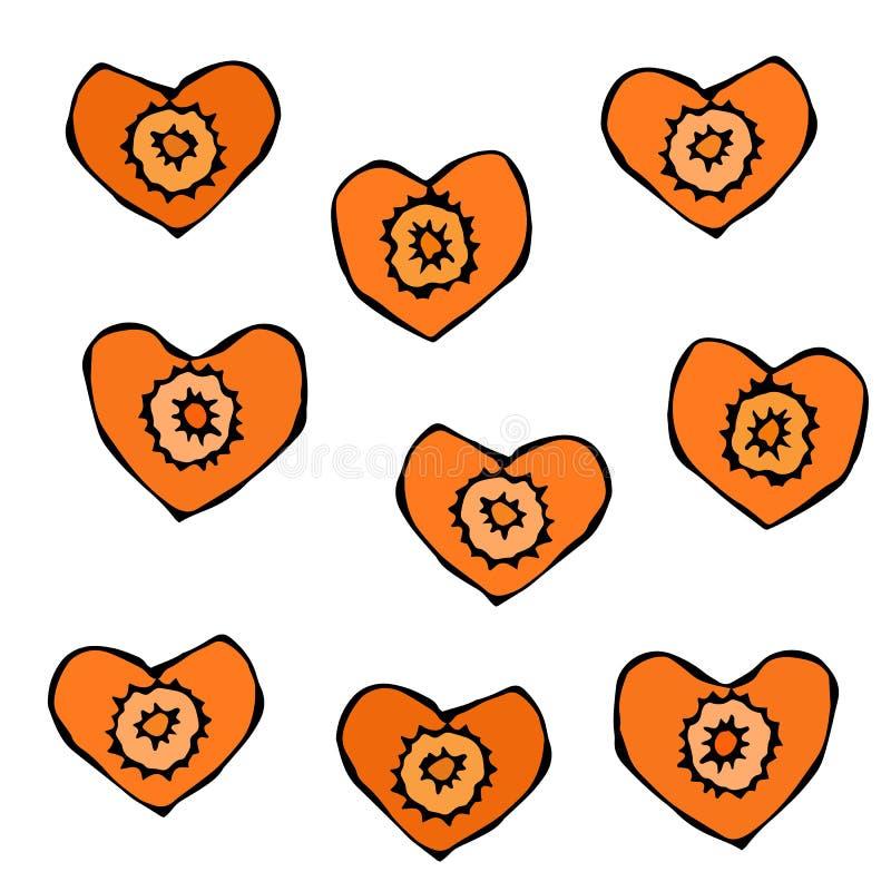 Figura cortes da cenoura da faca Fatias dadas forma coração de cenouras Cinzelado cozinhando o ingrediente, salada vegetal Culiná ilustração royalty free