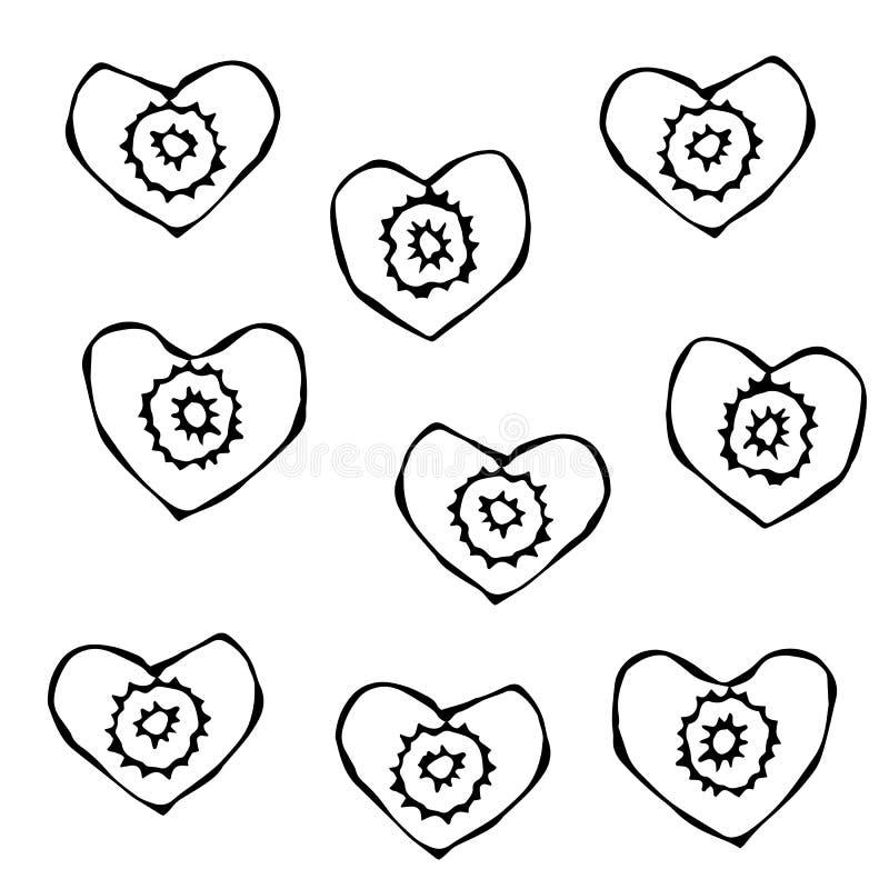 Figura cortes da cenoura da faca Fatias dadas forma coração de cenouras Cinzelado cozinhando o ingrediente, salada vegetal Culiná ilustração stock