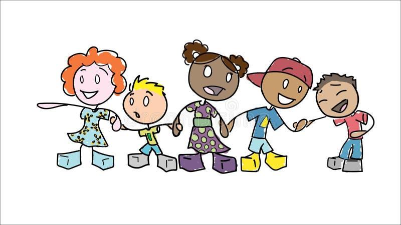 Figura crianças da vara que guardam as mãos foto de stock