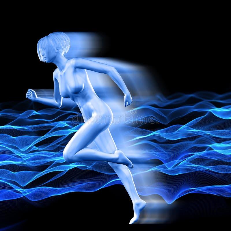 a figura 3D fêmea com efeito da velocidade no fundo do fluxo pontilha ilustração do vetor