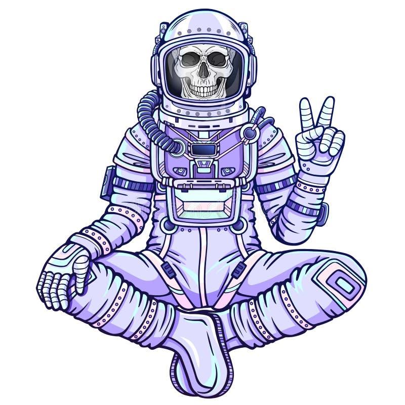 Figura da animação do esqueleto do astronauta que senta-se na pose da Buda ilustração royalty free