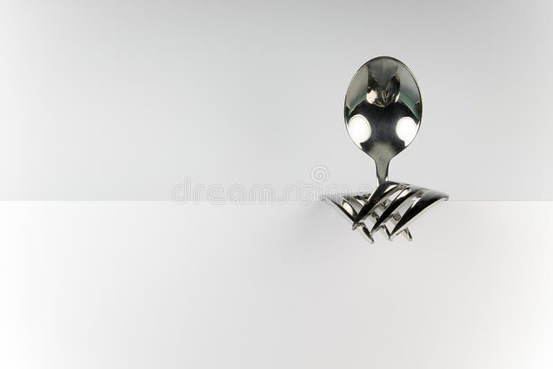Figura da colher e das duas forquilhas imagem de stock