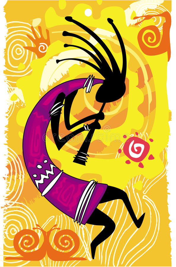 Figura da dança. Kokopelli ilustração stock