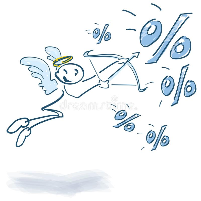 A figura da vara aponta com curva e seta em por cento ilustração stock