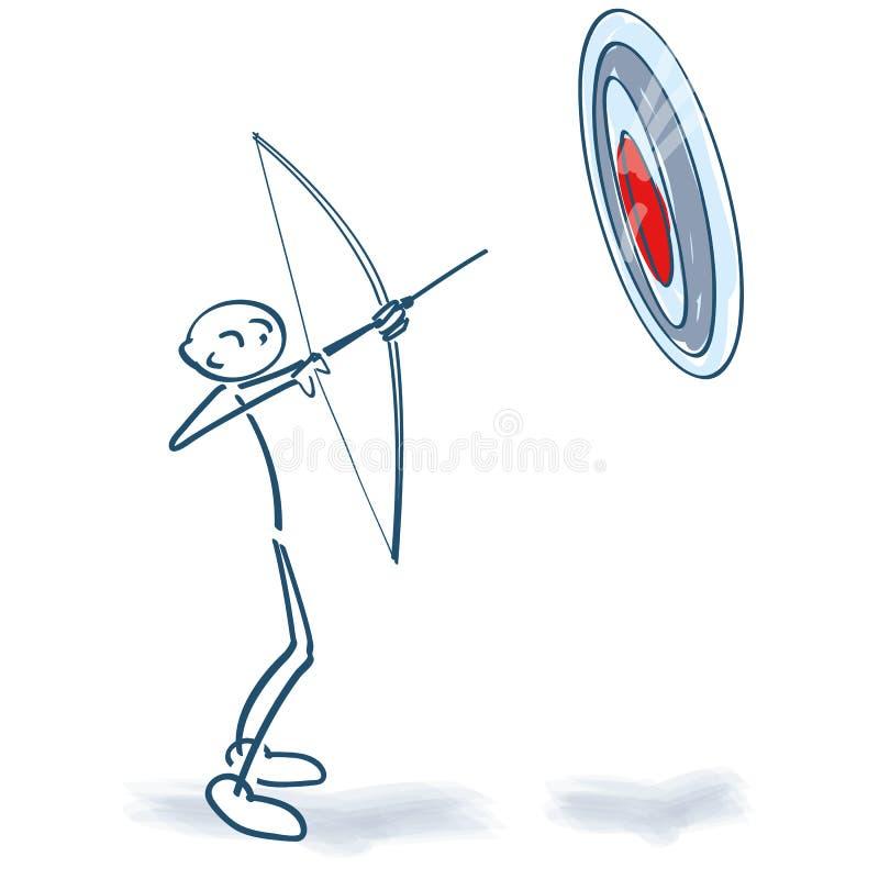 A figura da vara aponta um alvo com curva e seta ilustração stock