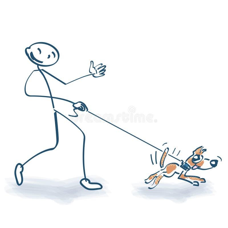 Figura da vara com cão ilustração do vetor