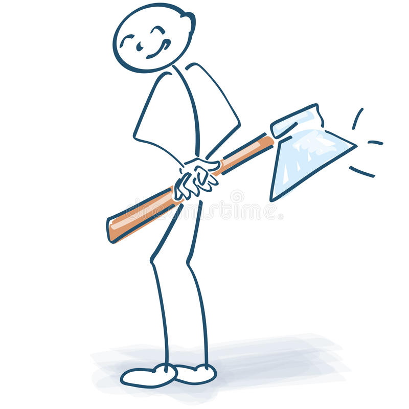 Figura da vara com um machado ilustração stock