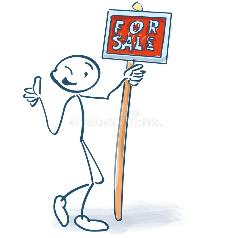 Figura da vara com um sinal vermelho para a venda ilustração stock