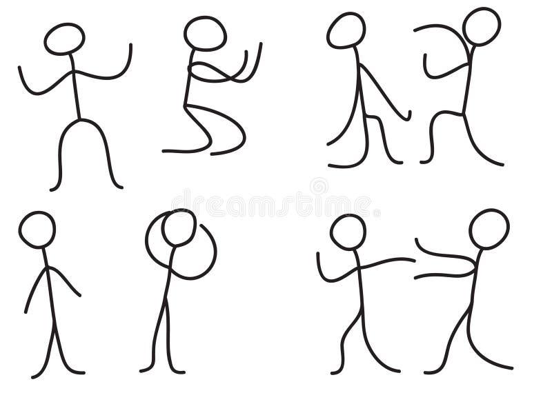Figura da vara da postura da linguagem corporal dos povos do homem ilustração royalty free
