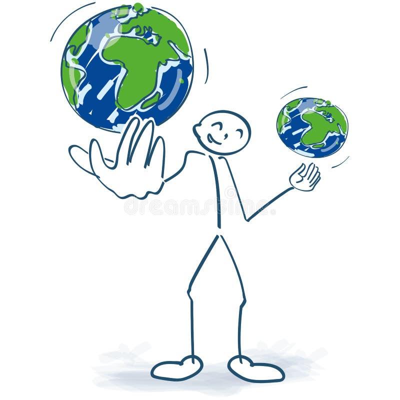 A figura da vara manipula com os dois globos do mundo ilustração royalty free