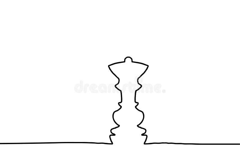 Figura da xadrez da rainha A lápis desenho contínuo Projeto bonito para o fundo preto Ilustração do vetor ilustração royalty free