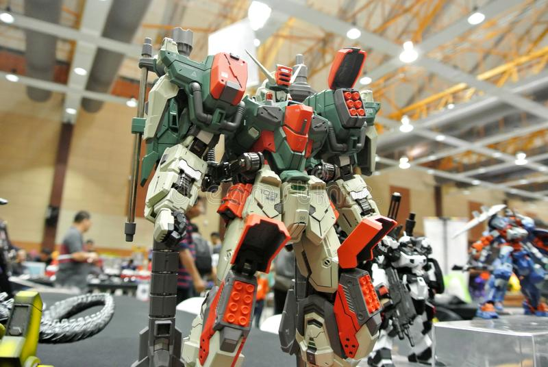 Figura de acción móvil de Gundam del traje modelo y juguetes imágenes de archivo libres de regalías