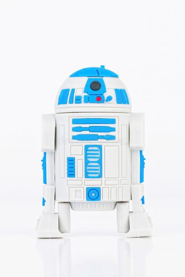 Figura de borracha de R2 D2 mini de Star Wars imagens de stock royalty free