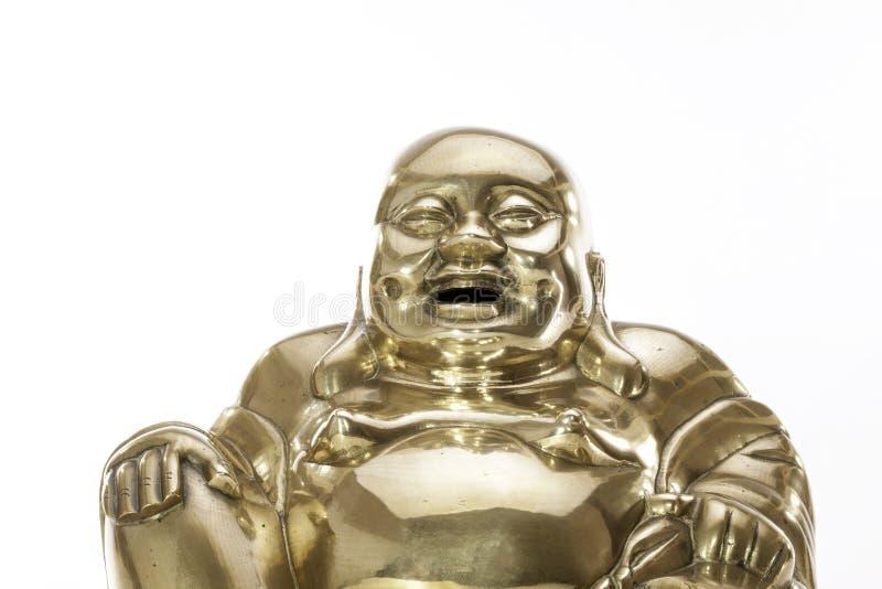Figura de bronze tradicional da Buda contra o fundo branco imagens de stock royalty free