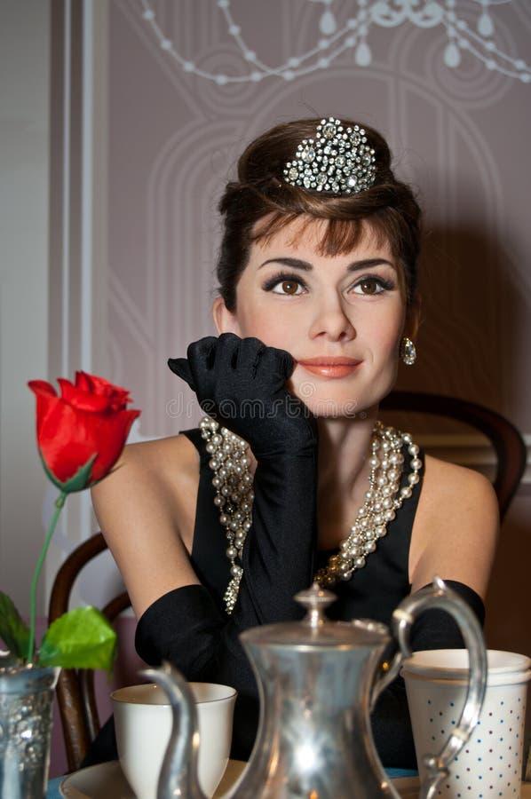 Figura de cera de Audrey Hepburn fotografía de archivo