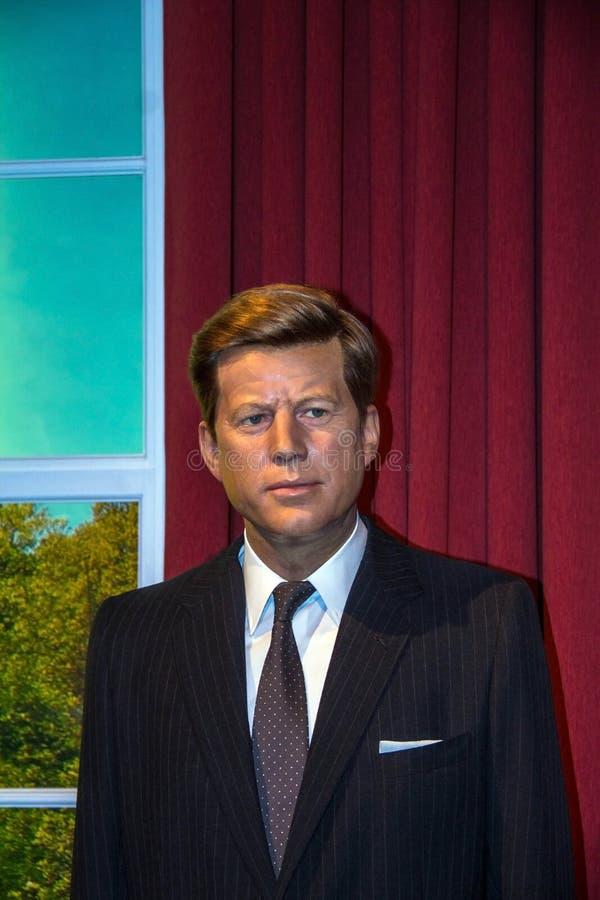 Figura de cera de Juan F Kennedy, anterior el presidente de los E.E.U.U., en el museo de señora Tussauds en Londres fotografía de archivo