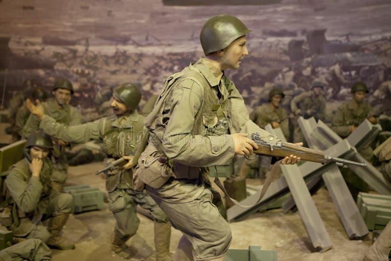 FIGURA de CERA de los soldados de la SEGUNDA GUERRA MUNDIAL fotos de archivo libres de regalías