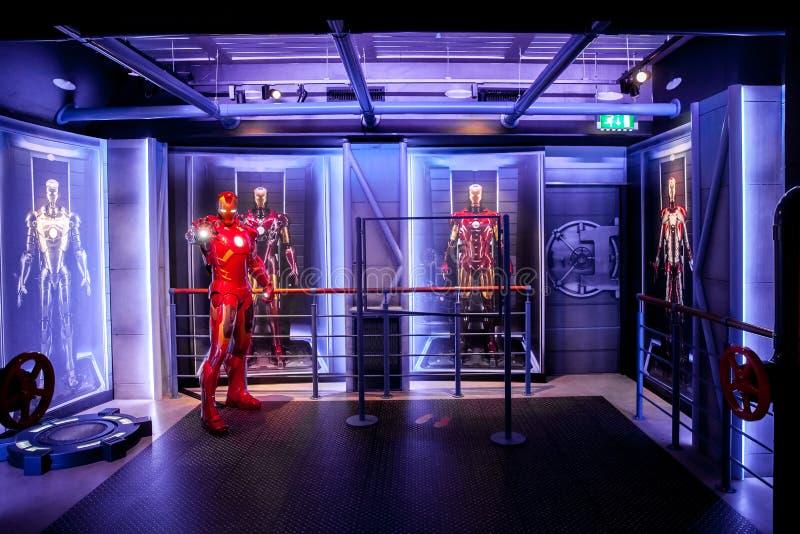 Figura de cera de Tony Stark o homem do ferro da banda desenhada da maravilha no museu da senhora Tussauds Wax em Amsterdão, País foto de stock