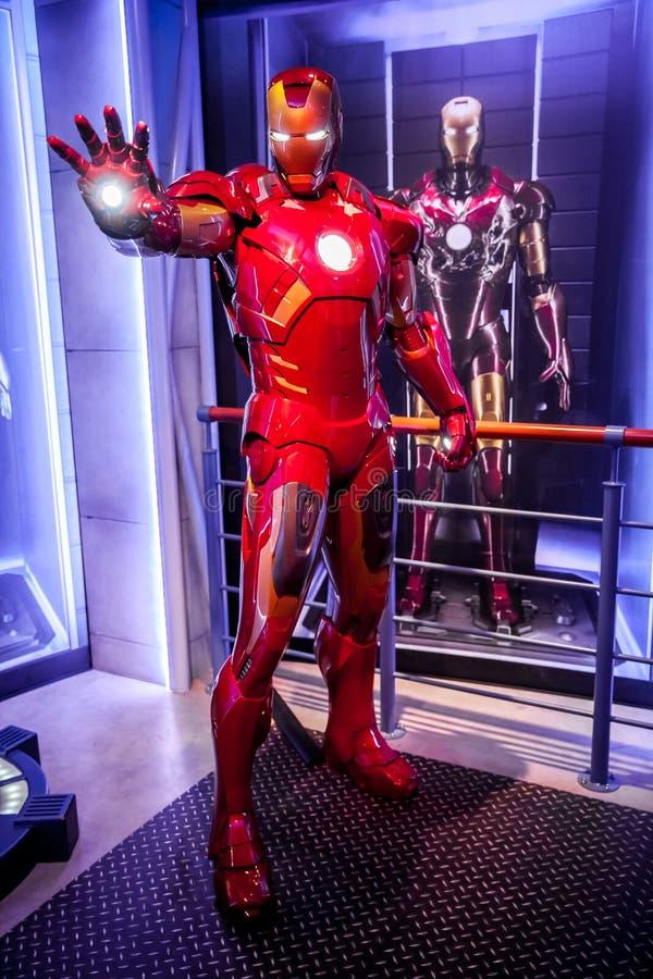 Figura de cera de Tony Stark o homem do ferro da banda desenhada da maravilha no museu da senhora Tussauds Wax em Amsterdão, País fotos de stock royalty free