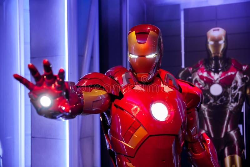 Figura de cera de Tony Stark o homem do ferro da banda desenhada da maravilha no museu da senhora Tussauds Wax em Amsterdão, País imagem de stock royalty free