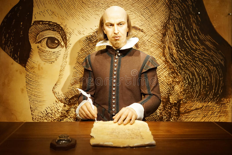 Figura de cera de William Shakespeare imagenes de archivo