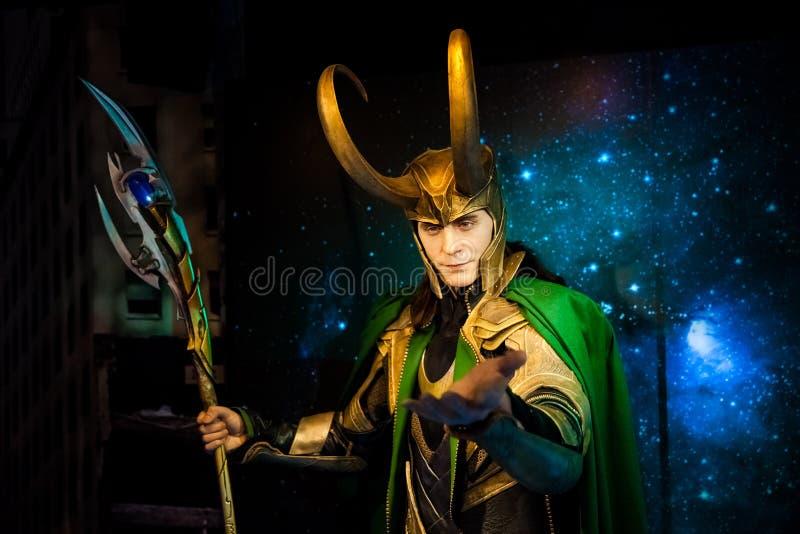 Figura de cera del carácter ficticio del Loki de los cómic americanos en museo de señora Tussauds Wax en Amsterdam, Países Bajos foto de archivo libre de regalías