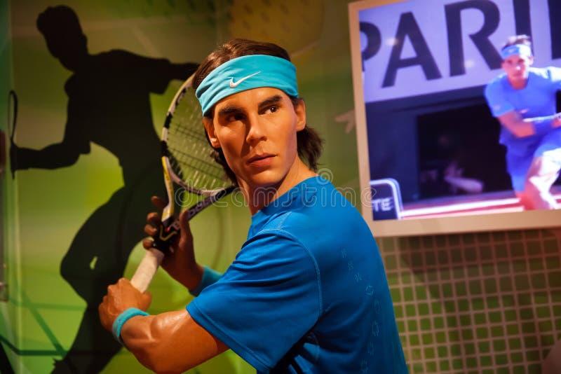 Figura de cera del jugador de tenis de Rafael Nadal en museo de señora Tussauds Wax en Amsterdam, Países Bajos fotos de archivo libres de regalías