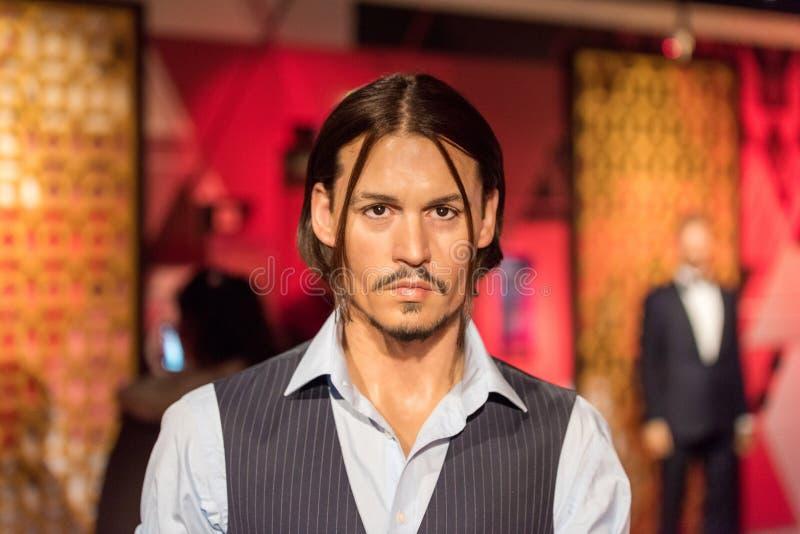 Figura de cera de Johnny Depp no museu da senhora Tussauds em Istambul imagens de stock royalty free