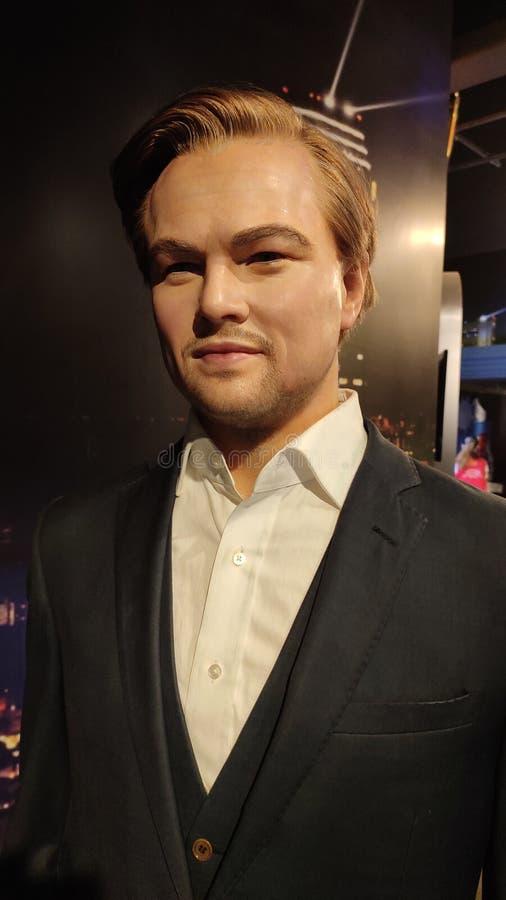 Figura de cera de Leonardo DiCaprio en el museo Singapur de los tussauds de la señora imagen de archivo