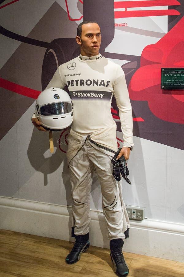 figura de cera de Lewis Hamilton, motorista F1 imagem de stock