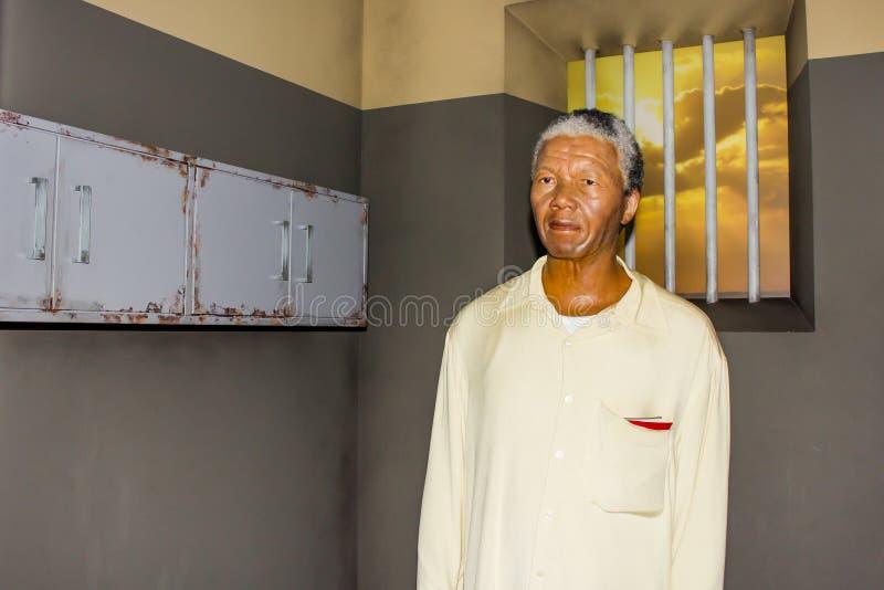 Figura de cera de Nelson Rolihlahla Mandela, senhora Tussaud fotografia de stock royalty free