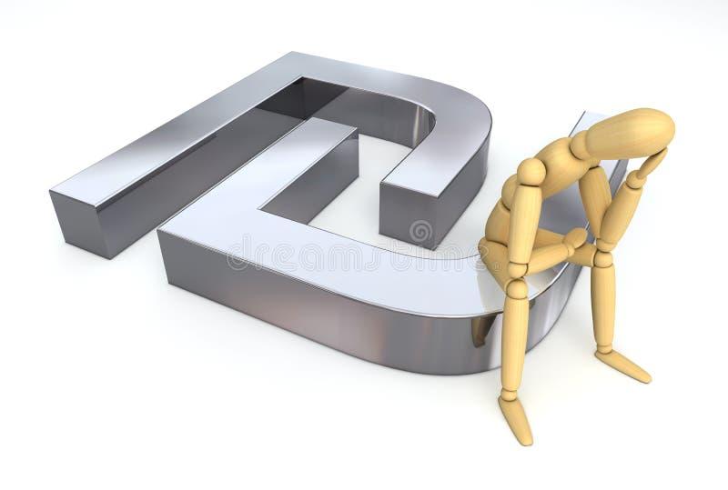 Figura de configuração que senta-se em Sheqel/símbolo do shekel ilustração do vetor