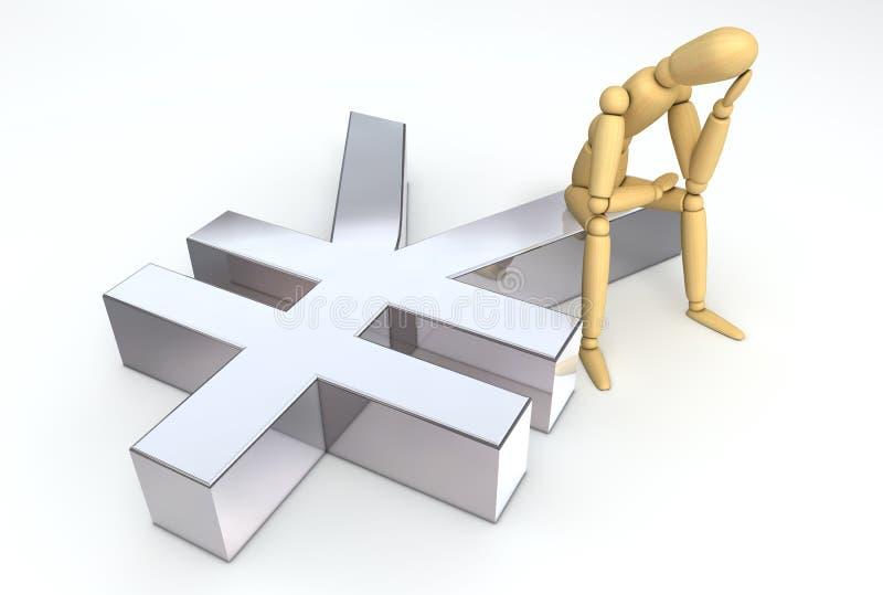 Figura de endecha que se sienta en símbolo de los Yenes stock de ilustración