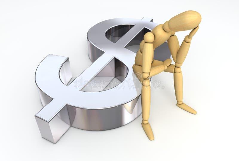 Figura de endecha que se sienta en símbolo del dólar stock de ilustración
