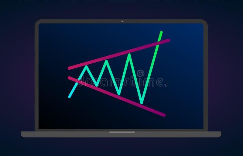 Figura de expansão com tendência para a alta análise técnica do teste padrão do triângulo do portátil Gráfico da troca do cryptoc ilustração royalty free