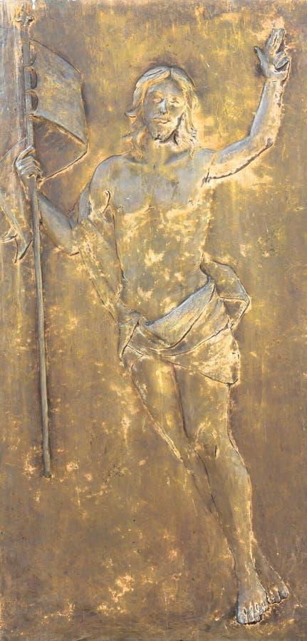 Figura de Jesus Christ no bas-relevo de bronze fotografia de stock