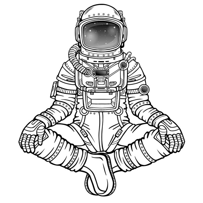 Figura de la animación del astronauta que se sienta en una actitud de Buda libre illustration